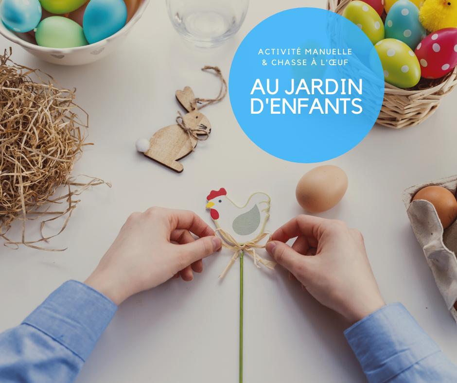 Pâques atelier et chasse à l'œuf jardin enfant