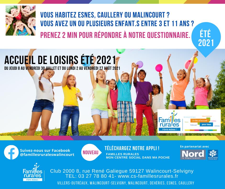été 2021 questionnaire Esnes, Malincourt, Caullery, accueil loisirs
