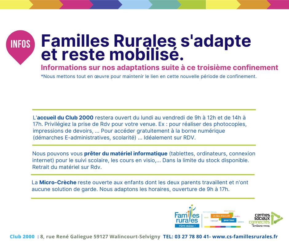 Familles Rurales s'adapte et reste mobilisé. Informations sur nos adaptations suite à ce troisième confinement (1)