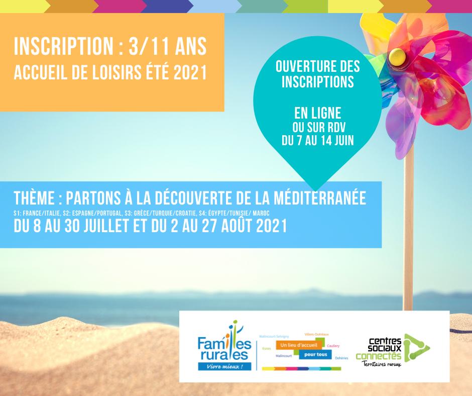 Inscription Accueil de loisirs Été 2021 enfant 3 / 11 ans