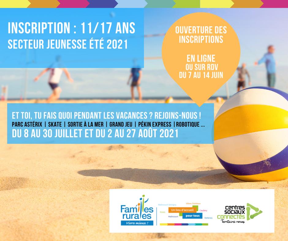 Inscription Accueil de loisirs Été 2021 - 11 à 17 ans