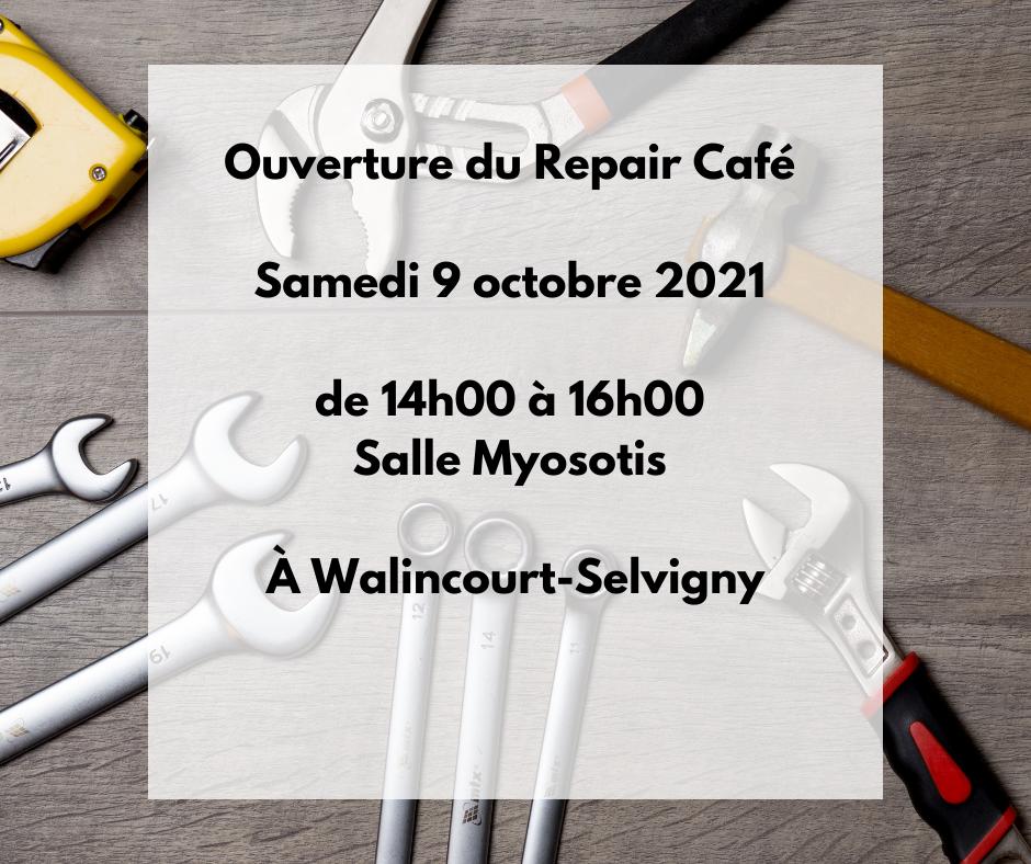 Ouverture du Repair Café ce samedi 9 octobre 2021 de 14h00 à 16h00 en salle Myosotis à Walincourt-Selvigny.